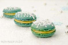 Schneeflocken Macarons mit Dattelmousse Rezept