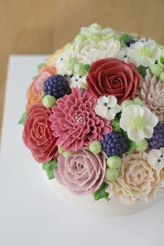 verandastudio buttercream flower cake;D