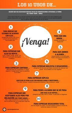 "#Spanishwords: venga. Different uses of ""venga."" #Spanish"
