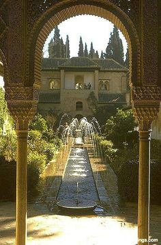 One of the wonderful features of the Moorish architecture in Grenada, Spain is the inside courtyard with fountains to create refreshing, private spaces.