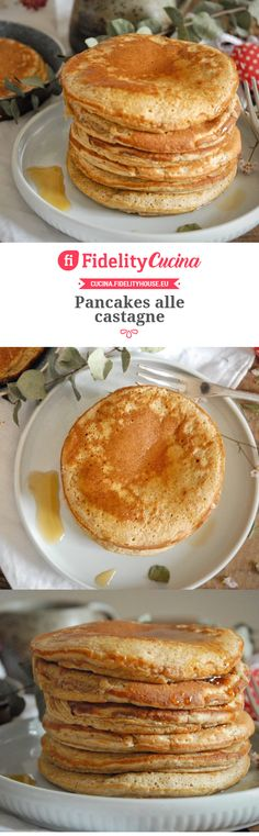 Pancakes alle castagne Biscotti, Finger Foods, Pancakes, Breakfast, Desserts, Recipes, Morning Coffee, Crepes, Deserts