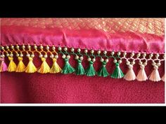 Saree Kuchu/tassel multi color thread with smal beads- easy techniques Saree Jacket Designs, Saree Tassels Designs, Saree Kuchu Designs, Mehndi Art Designs, Sari Blouse Designs, Fancy Blouse Designs, Blouse Patterns, Hand Work Embroidery, Hand Embroidery Stitches