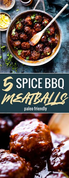 Paleo friendly 5 Spice BBQ Meatballs with a zesty Orange Hoisin sauce! These Asian Style BBQ meatballs are quick to prep and cooked in just 30 minutes. Natural ingredients with no refined sugar options, and rich in lean protein. Serve as an appetizer, meal, or a healthy protein for easy meal prep planning. Freezer friendly. #paleo #healthy #norefinedsugar #glutenfree via @cottercrunch
