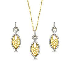 Micro Pave Cubic Zirconia CZ 14K Gold Over 925 Sterling Silver Vermeil Leaf Jewelry Set