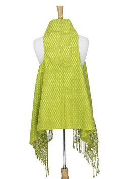 Cotton rebozo vest, 'Fresh Radiance' - Lime Green Mexican Rebozo Vest Hand Woven in Cotton (image 2c)