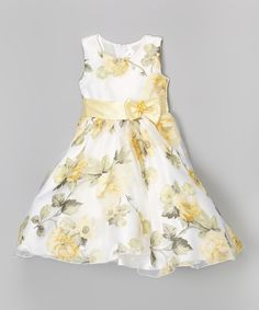 Love this White & Yellow Floral A-Line Dress - Toddler  & Girls by Kid Fashion on #zulily! #zulilyfinds