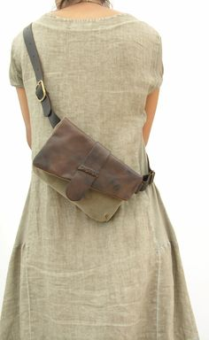 Leather and canvas Hip Bag Bum Bag Fanny Pack Unique by RuthKraus