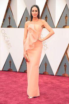 Louise Roe wearing a Christian Siriano peach gown.