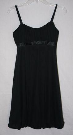 White House Black Market Black Bubble Hem Dress Size 0 Removable Straps Women's Fashion Little Black Dress