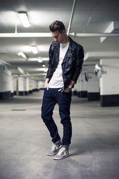 Men's Black Leather Biker Jacket, White Crew-neck T-shirt, Navy Jeans, Grey  High Top Sneakers