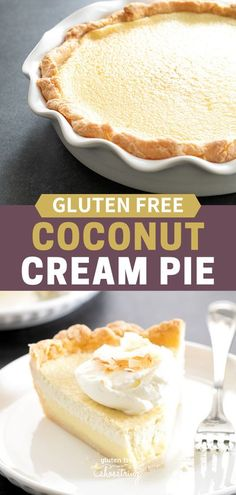This gluten free coconut cream pie has a smooth and creamy custard filling that can be cooked and chilled or baked in the oven, poured into a flaky pie crust. Don't forget the toasted coconut chips on top! #Coconut #Dessert #GlutenFree #Pie Easy No Bake Desserts, Easy Desserts, Delicious Desserts, Dessert Recipes, Cheesecake Recipes, Healthy Desserts, Dinner Recipes, Best Gluten Free Recipes, Gluten Free Sweets