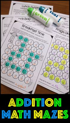 Addition Math Mazes. Fun and easy way to revise addition facts up to 20. Children can color with pen or pencil, dab with dab markers or cover with counters. https://www.teacherspayteachers.com/Product/Addition-Math-Mazes-Addition-Worksheets-for-Addition-Facts-to-20-3223058 $
