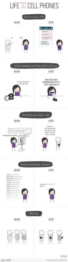Life before and after cell phones