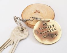 Fathers Day Gift for Dad 1st Father's Day Gift for Husband Personalized Keychain Handstamped Key Ring for Grandpa Fishing Buddy Keyring Men by CandTCustomLures on Etsy