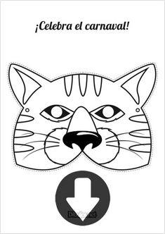 Máscara de Carnaval Gato para imprimir y colorear