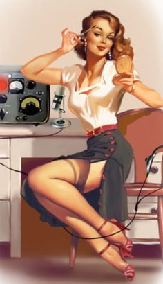 Vintage Pin-up art.                                           How I'd like to be.