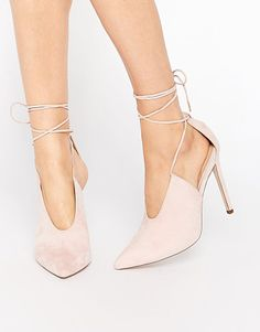 Propellor lace up pointed heels by Asos. Heels by ASOS Collection Suede-look upper Lace-up ankle tie Sharp point toe High stiletto heel Wi...