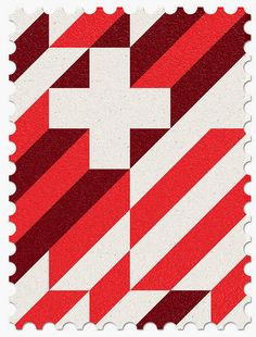 2014 Commemorative World Cup Stamps designed by Portuguese graphic design studio MAAN.  Abstract country flag design - Switzerland