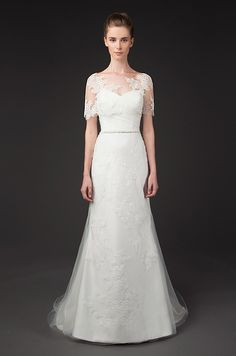 Lace illusion capes for a A-line wedding dress. Winnie couture, Fall 2014