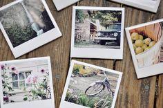 DIY Polaroid Coasters.  Cool Idea for those vacation memories
