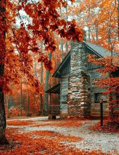 The beautiful fall colors ♡ Autumn Scenes, Fall Pictures, Fall Pics, Autumn Photos, Amazing Pictures, Cabins In The Woods, Log Homes, Belle Photo, Fall Halloween