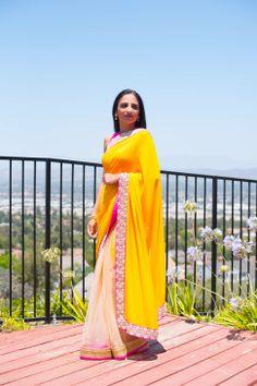 Yellow and pink sari - 1