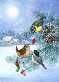 Hello Kitty Christmas, Christmas Bird, Christmas Scenes, Vintage Christmas Cards, A Christmas Story, Christmas Pictures, Winter Christmas, Christmas Crafts, Christmas Artwork