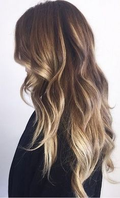 A soft ombre effect from brown to blonde for a natural look.