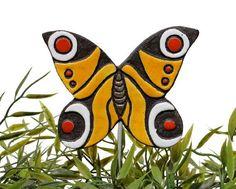 mariposa decoración del jardín - juego de plantas - adorno de jardín - amarillo y rojo de la mariposa de pavo real