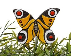butterfly garden decor - plant stake - garden ornament - yellow and red peacock butterfly