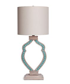 turquoise cabochon limed wood lamp