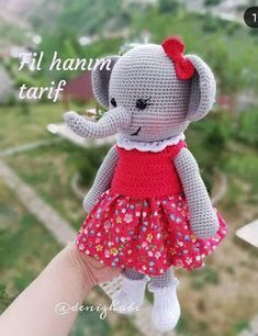 ELBİSELİ FİL You are in the right place about Handmade Gifts for boys Here we offer you the most beautiful Knitted Teddy Bear, Crochet Teddy, Crochet Patterns Amigurumi, Amigurumi Doll, Crochet Baby, Knit Headband Pattern, Knitted Headband, Sea Animal Crafts, Teddy Bear Nursery