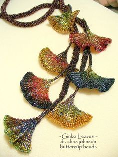 It actually looks nicer in real life. The colors turned out great. (I think that this a a Diane Fitzgerald desihn?our creativity gallery (photo from Buttercup Beads)Ginko Leaves by Dr Chris JohnsonMore Diane Fitzgerald. Instruction information on her Seed Bead Jewelry, Bead Jewellery, Beaded Jewelry, Beaded Necklace, Necklaces, Seed Beads, Beading Projects, Beading Tutorials, Beading Patterns
