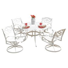 "Biscayne 5-Piece Dining Set; Table 29"" H x 48"" Diameter; Chair 16"" seat height x 33.46"" H"
