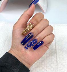 new latest royal blue long acrylic nails gel polish Acrylic Nails Coffin Ombre, Acrylic Nails Coffin Glitter, Blue Coffin Nails, Luxury Nails, Fire Nails, Acrylic Nail Designs, Swag Nails, Pretty Nails, Gel Nails