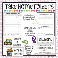 Managing papers that go from school to home can be a challenge. Use these EDITABLE labels and forms to get your Take Home Folders & Homework Folders set up and organized. Customize your labels and then print on 2 inch by 4 inch shipping labels. First Grade Classroom, Preschool Classroom, Classroom Ideas, Future Classroom, Kindergarten Open House Ideas, Dinosaur Classroom, Kindergarten Calendar, Kindergarten Homework, Welcome To Kindergarten