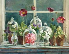 Purple Poppies Windowsill Kunstdruk