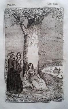 El Señor de Bembibre. Por Enrique Gil y Carrasco - (1844) Lámina XVII...  Los tres guardaban silencio como si temiesen interrumpir con sus palabras la calma de aquel hermoso espectaculo, cuando un resplandor que venia del lado de Carracedo dio en los ojos de don Alvaro, y fijandolos con mas cuidado en aquel parage, vio un hombre de armas ...