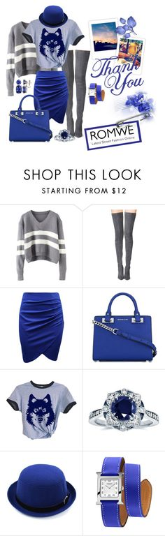 """Blue Wolf"" by sirenelisa ❤ liked on Polyvore featuring Tamara Mellon, MICHAEL Michael Kors, Kobelli, Hermès, women's clothing, women, female, woman, misses and juniors"