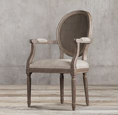 Vintage French Round Cane Back Fabric Armchair
