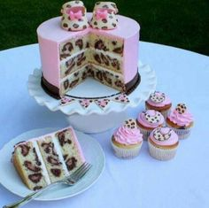 Fabulous pink and cheetah print cake and cupcakes, perfect for a baby shower or girls first birthday party.