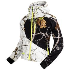 FXR Mission Realtree Womens Softshell Hoodie White Snow/Black/Hi-Vis Yellow/Woods Camo Oh my God I need this in my life White Camo, Pink Camo, Camo Outfits, Casual Outfits, Camo Fashion, Womens Fashion, Fashion Fall, Military Fashion, Womens Hunting Clothes