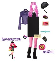 """""""Monster High """"Warped"""": Howleen Wolf"""" by simone-blakely ❤ liked on Polyvore featuring Fiorucci, Kate Spade, Yves Saint Laurent, Giuseppe Zanotti, Christian Louboutin, Bebe, Hermès, Alexis Bittar, Orciani and AllSaints"""