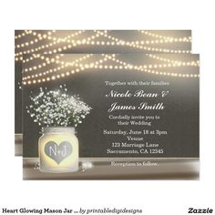 Heart Glowing Mason Jar & Baby's Breath Invitation