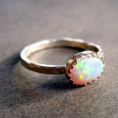 Opal sterling silver ring. My October birthstone!