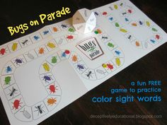 Relentlessly Fun, Deceptively Educational: Bugs on Parade {Printable Game to Practice Color W. Preschool Colors, Teaching Colors, Preschool Games, Phonics Activities, Language Activities, Reading Games, Teaching Reading, Fun Learning, Learning Activities