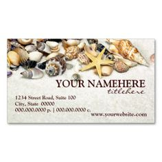 Seashells Business Cards. This is a fully customizable business card and available on several paper types for your needs. You can upload your own image or use the image as is. Just click this template to get started!