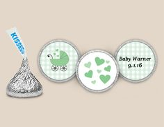 Personalize Candy Stickers for KISSES chocolates for a Carriage Themed Baby Shower #carriageshower