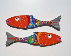 Far Out Fish Works . 1 Large Size Choose Dark Blue or Fence Slats, Fish Face, Wood Fish, Pennsylvania Dutch, Fish Design, Mexican Folk Art, Dark Purple, Light Purple, Color Stripes