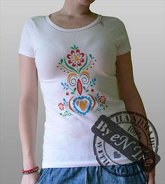 Ľudové tričko - dámske biele
